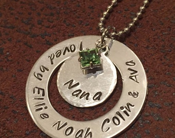 """hand stamped """"nana"""" necklace, personalized grandmother necklace, custom birthstone grandmother necklace, Gigi necklace, Grandma necklace"""