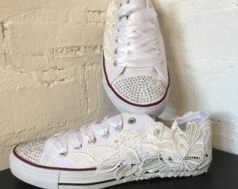 Converse Style Bridal Shoes Wedding Shoes Flats Lace Shoes Chucks