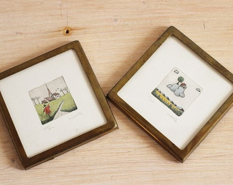 Duo of watercolours with brass frames