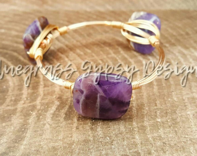 Natural Amethyst wire bangle, Bracelet, Bourbon and Boweties Inspired