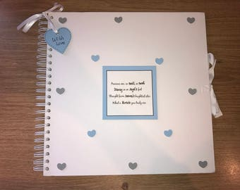 Handmade Personalised Baby Boy Scrapbook / Photo Album / Gift / Memory Book. White with blue and grey embellishments