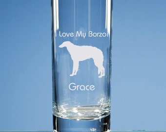 Borzoi Highball Glass Personalised Engraved Gift For Dog Lovers, Borzoi Dog Lover Gift, Borzoi Glass, Borzoi Gift, Borzoi Dog Gift, Borzoi