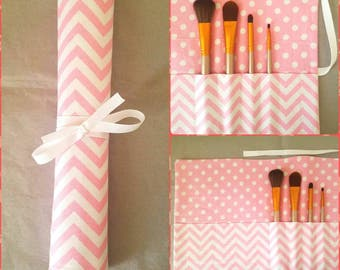 Makeup Brush Roll, Pink and White Chevron Pattern
