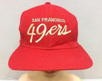 Vtg Rare!! San Francisco 49ers National Fotball Leaque Cap Red Colour Made In Costa Rica