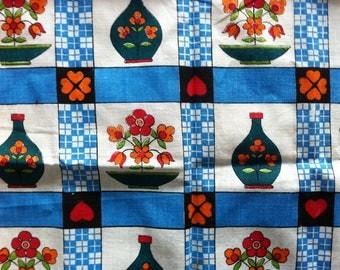 Retro 1960's Tea Towel - flowers, checks, hearts. Screen print on Linen.