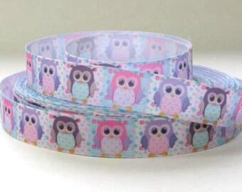 "7/8"" Owls - Pastel Colored Owls - Grosgrain Ribbon"