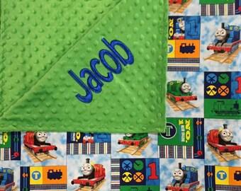 Personalized Thomas the Train minky blanket,Baby Gift, Nursery Blanket, Toddler Bedding, Nursery Blanket, Crib Bedding