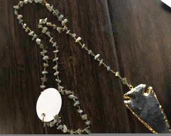 Dark gray rosary chain necklace with Arrowhead