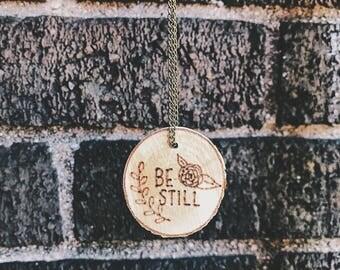 "Woodburned birch necklace ""be still"""