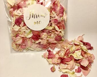 Flower petal confetti - dark and pale pink with off white petals - biodegradable - metallic gold 'throw me' label - vintage wedding decor