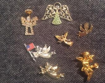 Sixteen Vintage Angel and Cherub Pins!