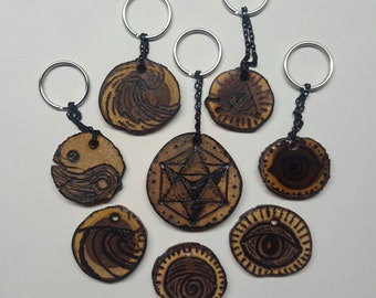 Handmade Reclaimed Wood Keychain, Woodburned Resin, All Seeing Eye Surf Geometry