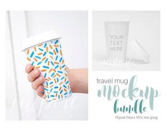 Ceramic Travel Mug Mockup Bundle / Styled Mockups / White Background / Minimalist and Femenine / Woman Holding Tumbler Mug/ PSD Mockup