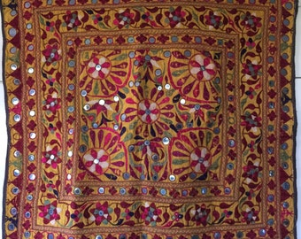 Indian vintage wall tapestry hand embroidered