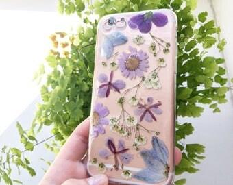 Pressed flower Phone case 6/6s case | real pressed flower phone case | resin floral bumper case | unusual prezent