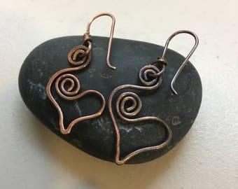 Heart Earring Hand wrapped