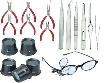18 Pc Jewelers Tools Diamond Stone Tweezezers Pliers  Jewelry Eye Loupes Set and Clip On Magnifying Loupe hobby craft  stamps reading & more