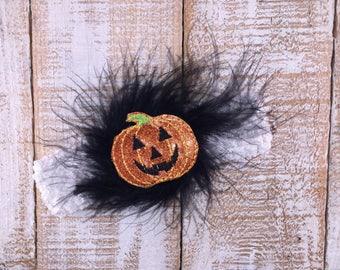 Pumpkin Headband, Crochet Headband, Fall Headband, Baby Girl headband