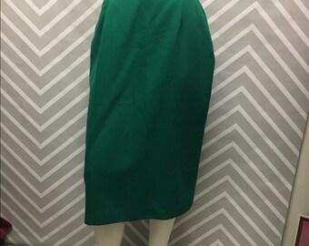 Vintage Green Wool Pencil Skirt