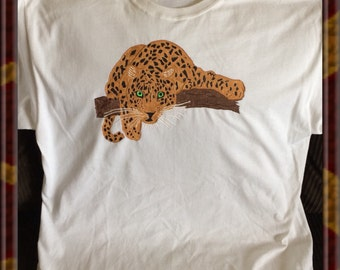 Leopard Tshirt Hand Painted