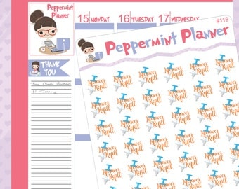 LifeSaver Planner Stickers, Medication Refill Stickers, {#116}