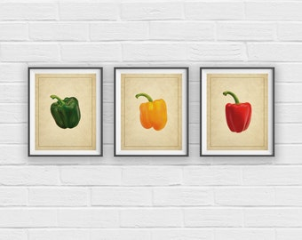 Red, Yellow, Green Pepper Print Set, Kitchen Art, Kitchen Prints, Food Print, Chef Gift, Foodie, Vegetable Art, Vegetable Print, Panel Art