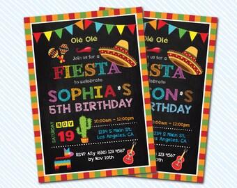 Digital Printable Fiesta Birthday Invitation. Kid Birthday