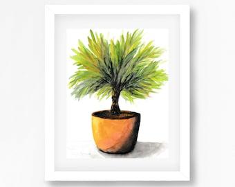 Pot Plant Print, Watercolour Plant Painting, Botanical Print, Abstract Botanical Watercolor Print, Original Fine Art For Sale, Palm Painting
