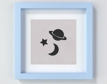 Space Nursery Art, Space Baby Art, Space Nursery Print, Baby Gift, Nursery Decor, Baby Boy Print, Baby Boy Decor, Space Artwork, Playroom