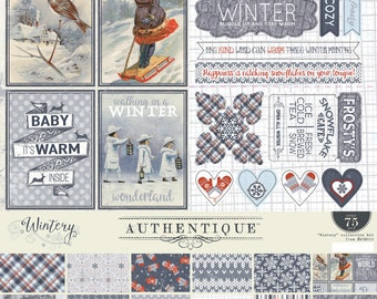 Authentique - WINTERY 12x12 Textured Double-Sided Collection Kit, Winter Scrapbook Paper, Snow Scrapbook Paper
