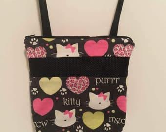 Sugar Glider Bonding Pouch, baby hedgehog bonding bag, small exotic nesting supplies, zipper bag, snuggle sack, Black Hello Kitty Flannel