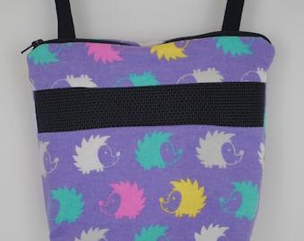 Sugar Glider Bonding Pouch, baby hedgehog bonding bag, small exotic nesting supplies, zipper bag, snuggle sack, Lilac Hedgehog Flannel