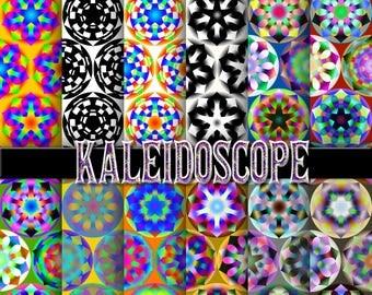 Kaleidoscope digital paper, background, scrapbook