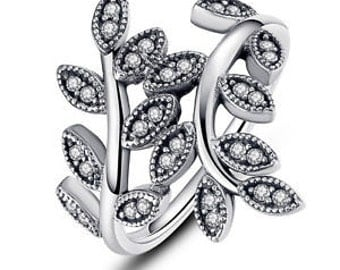 Silver leaf style ring ,similar to Pandora ideal gift for a lady ,set with cubic zirconia