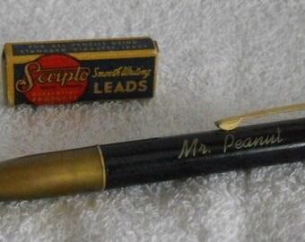 Vintage Mr. Peanut Mechanical Pencil with Scripto Lead Box