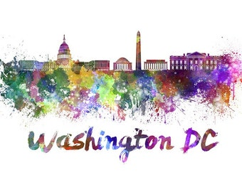 Washington DC skyline watercolor canvas, Washington DC Canvas Print, Washington DC wall art, Canvas Wall Art, Watercolor Skyline, Gift Ideas