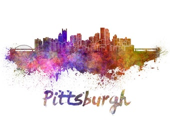 Pittsburgh skyline watercolor canvas,  Pittsburgh Canvas, OKC wall art, Pittsburgh Canvas Wall Art, Pittsburgh wall art canvas, Pennsylvania