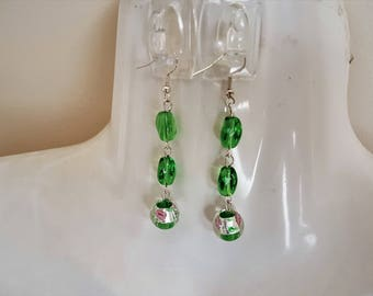 Lovely Green Lampwork Glass Bead with other Green Glass Beads - Dangle Earrings