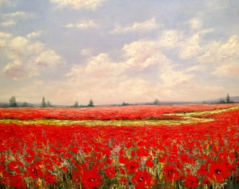 Poppies Painting Canvas Oil Painting Poppies Field Painting Canvas Painting Original Modern Ukrainian Art Interior Painting Anniversary Gift
