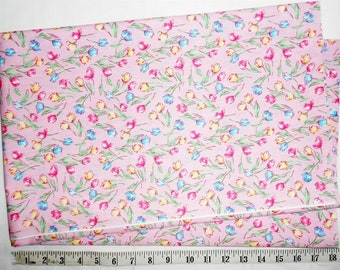 Fabric -1 yd piece - Spring Floral/Tulips/Blue/Yellow/Pink/Mauve/Green/Mint/Bright (#yd051)