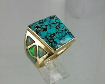 Vintage Custom Men's Spiderweb Turquoise & Opal 14k Ring Sz 11