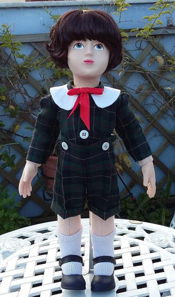 Zisa Doll Boy in tartan suit