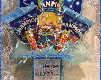 Father's Day Retro sweets Bouquet with keyring