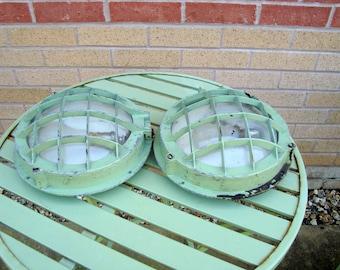 A Pair of 1940s Cast Aluminium Industrial/ Military/ Nautical/ Marine/ Ship/ Boat Bulkhead Lights
