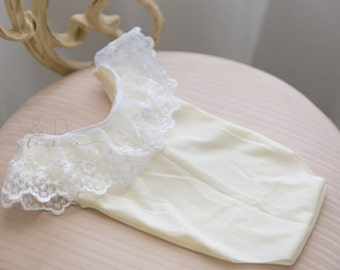 Sleeveless white lace and cream fabric romper , newborn romper , newborn photo prop