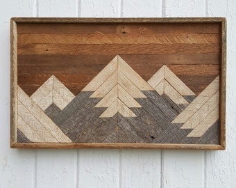 Past Reclaimed Wood Wall Art, Small Mountain Range, Lath Art, Shabby Chic, Wall Decor, Geometric, Mosaic, Rustic Design, Barn Wood