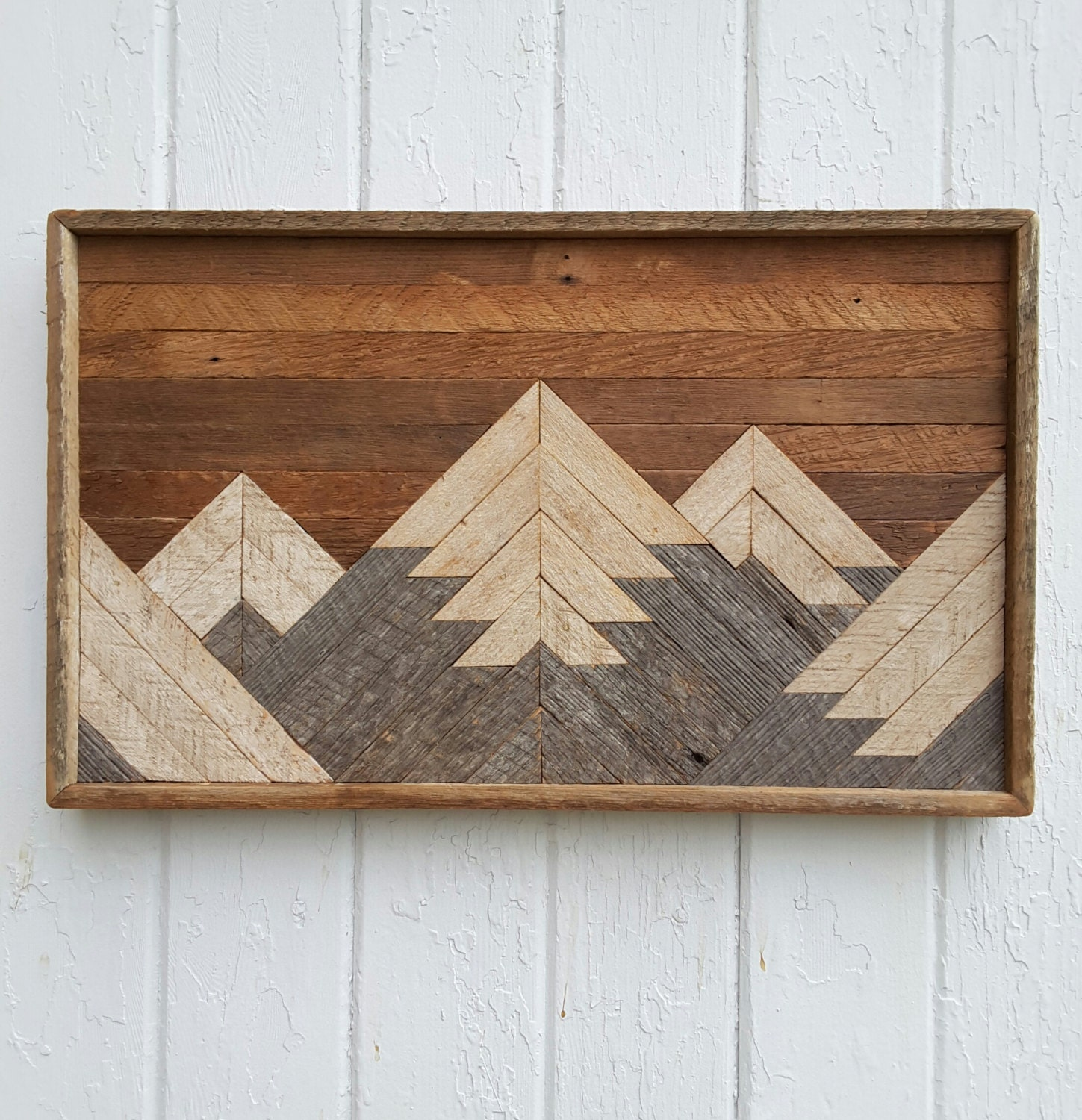 Past reclaimed wood wall art small mountain range lodge for Small wall art
