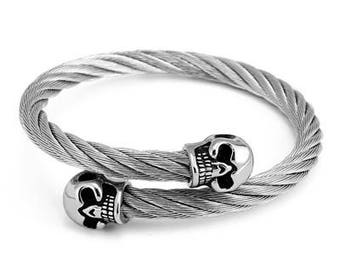 Double head Skull Bracelet for Men | BraceletsDR