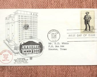 Sam Houston First Day Issue US Postage Stamp FDC 1964 Houston TX Capitol Building Rice Hotel