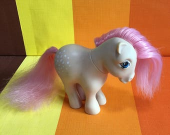 Vintage G1 My Little Pony Cotton Candy Hasbro Made in Italy 1982 More Beige Body Pink Hair White Speckles